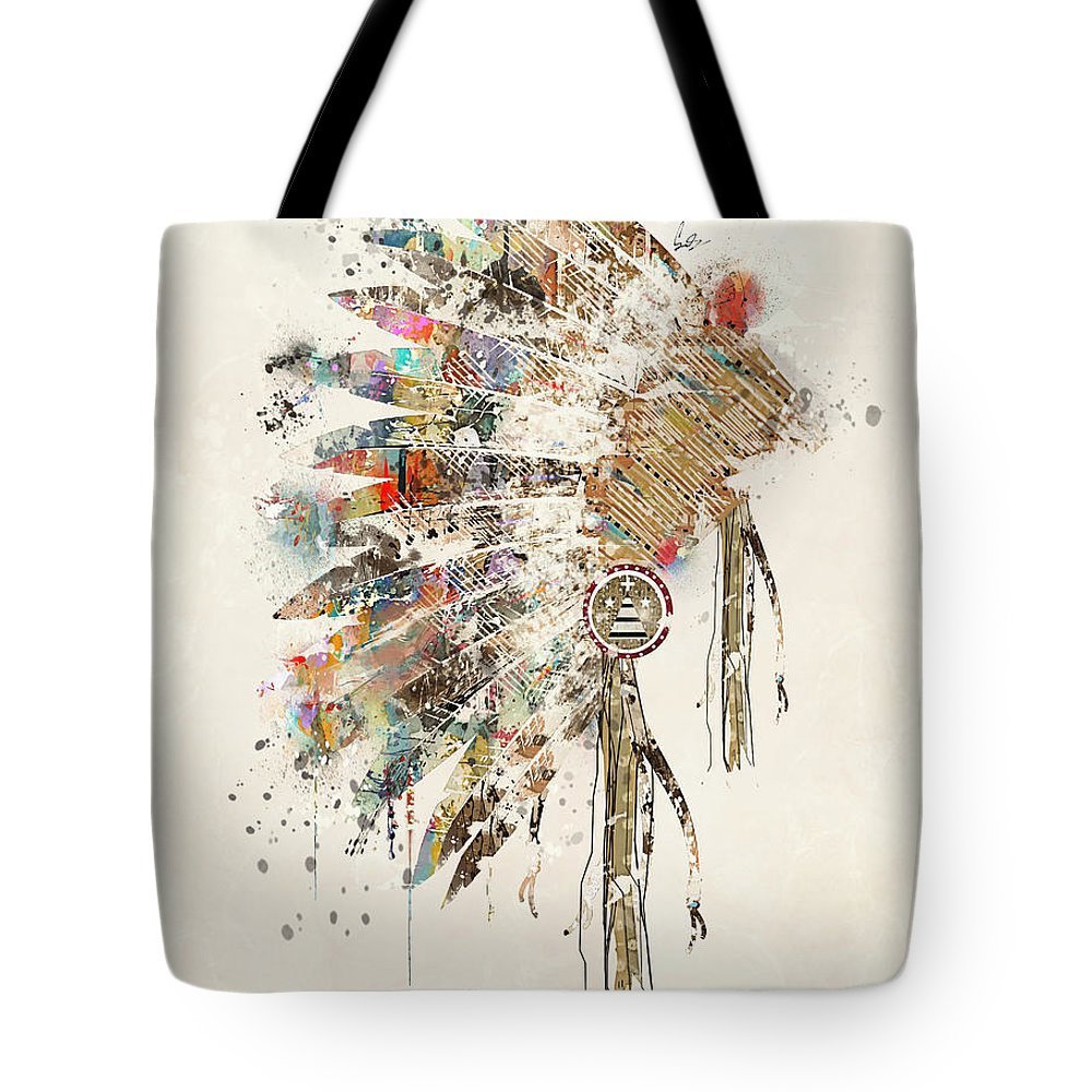 Native Headdress Tote Bag featuring the painting Headdress by Bri Buckley