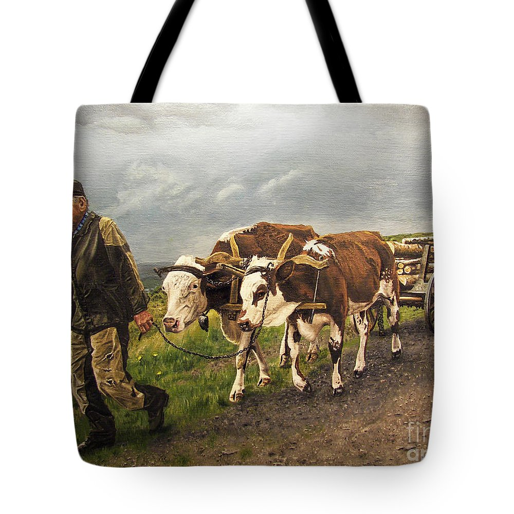 Animals Tote Bag featuring the painting Heading Home by Deborah Strategier