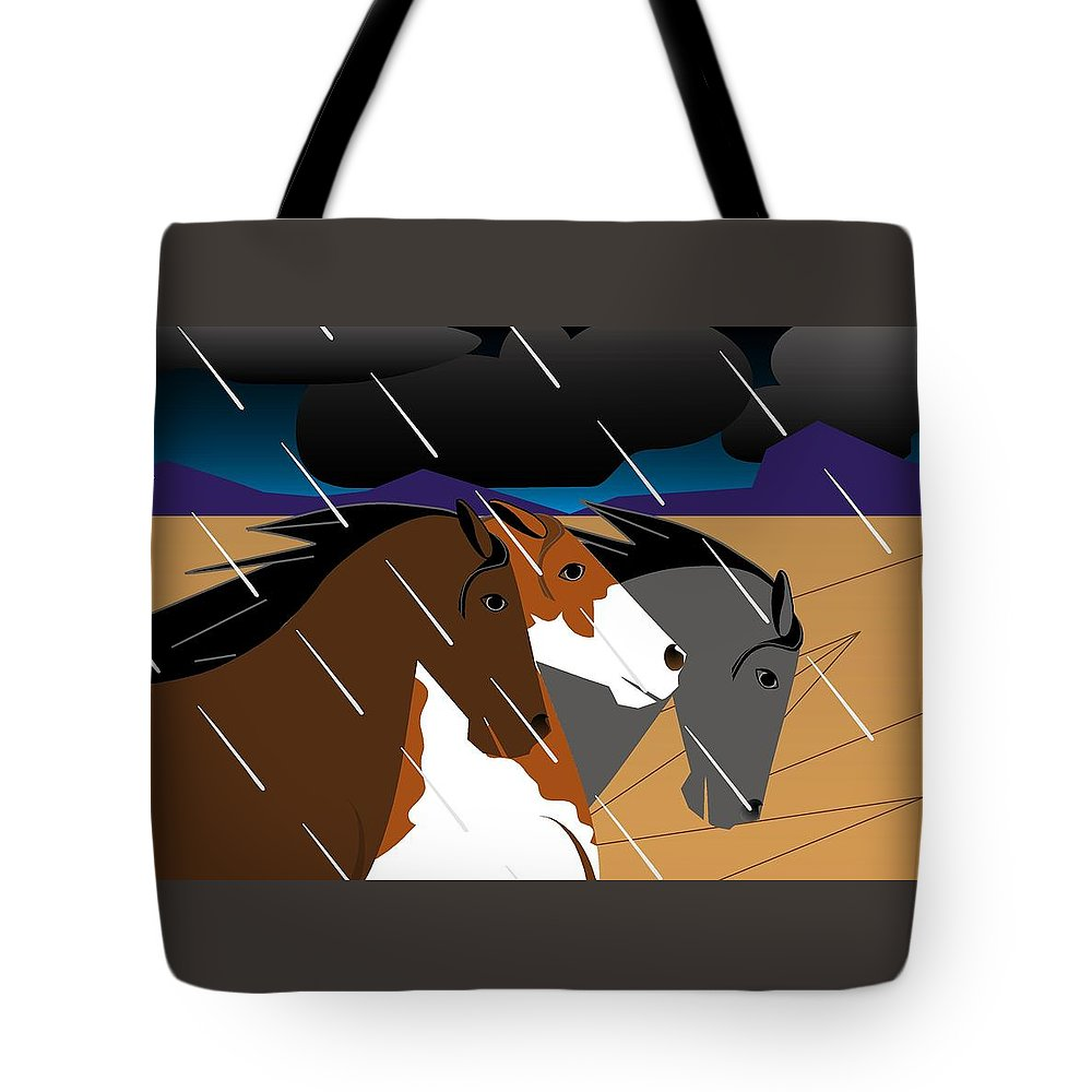 Wild Horses Tote Bag featuring the digital art Heads Up by Marie Sansone