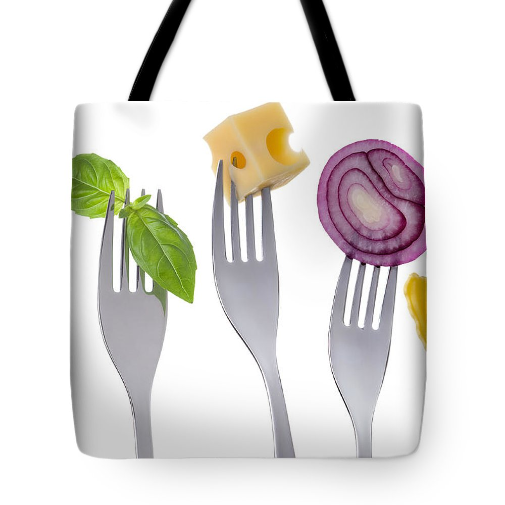 Food Groups Tote Bag featuring the photograph Healthy Balanced Food On White by Lee Avison
