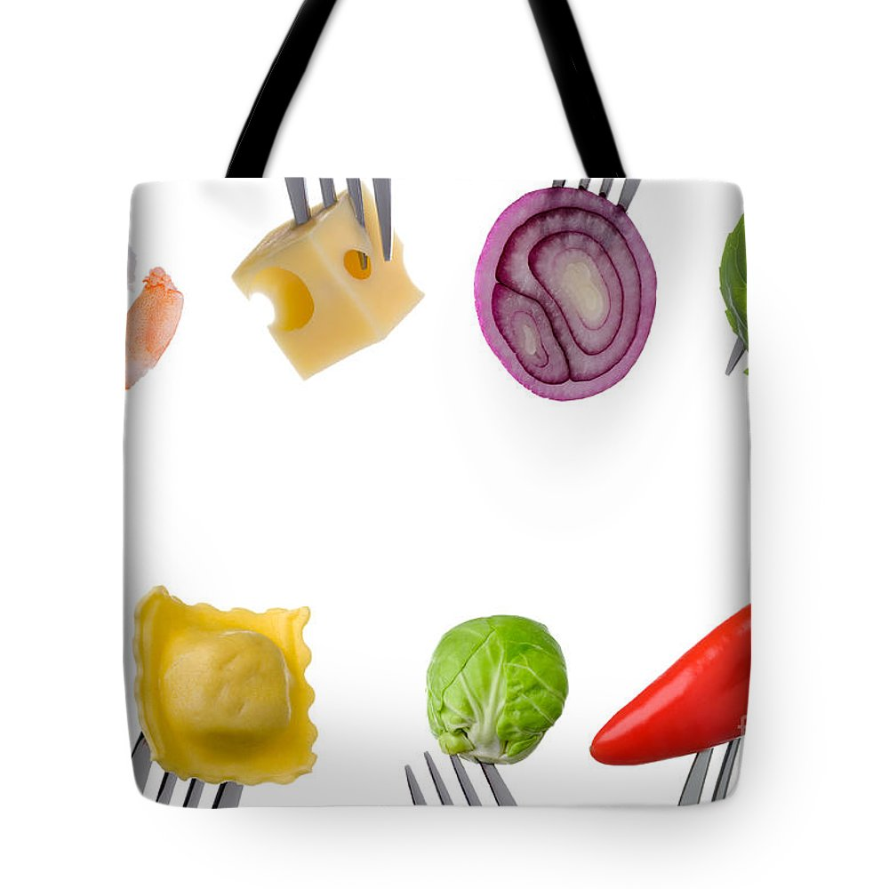 Balanced Diet Tote Bag featuring the photograph Healthy Food Border On White by Lee Avison