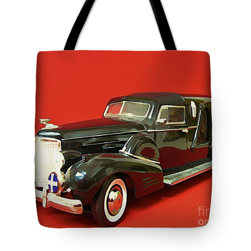 Hearse Tote Bag featuring the painting Hearse by John Malone