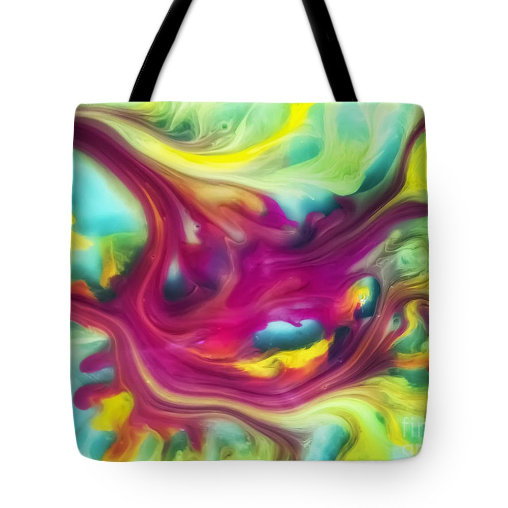 Watercolor Paintings Tote Bag featuring the painting Heart Attack Watercolor Abstraction Painting by Justyna JBJart
