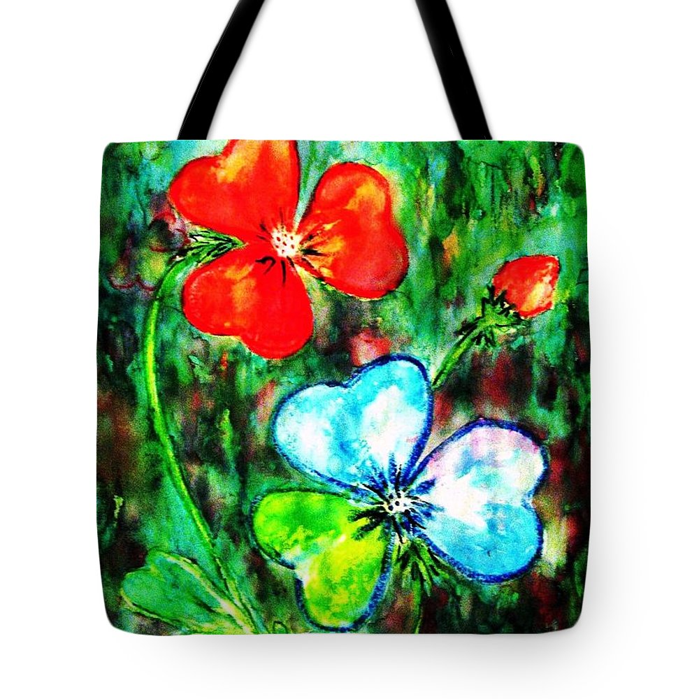 Shamrocks Tote Bag featuring the painting Heart Flowers by Hazel Holland