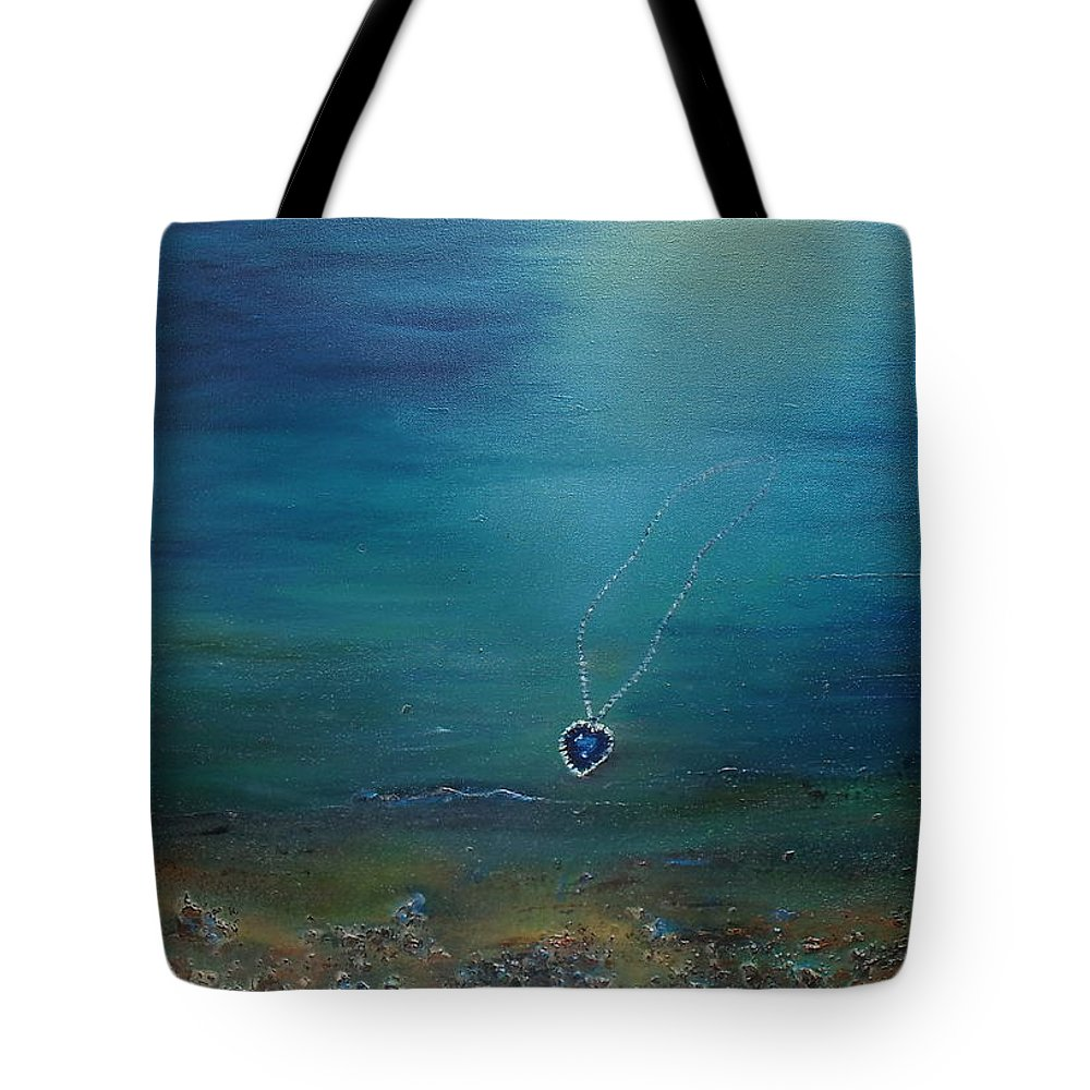 Titanic Tote Bag featuring the painting Heart Of The Ocean by Donna McGee