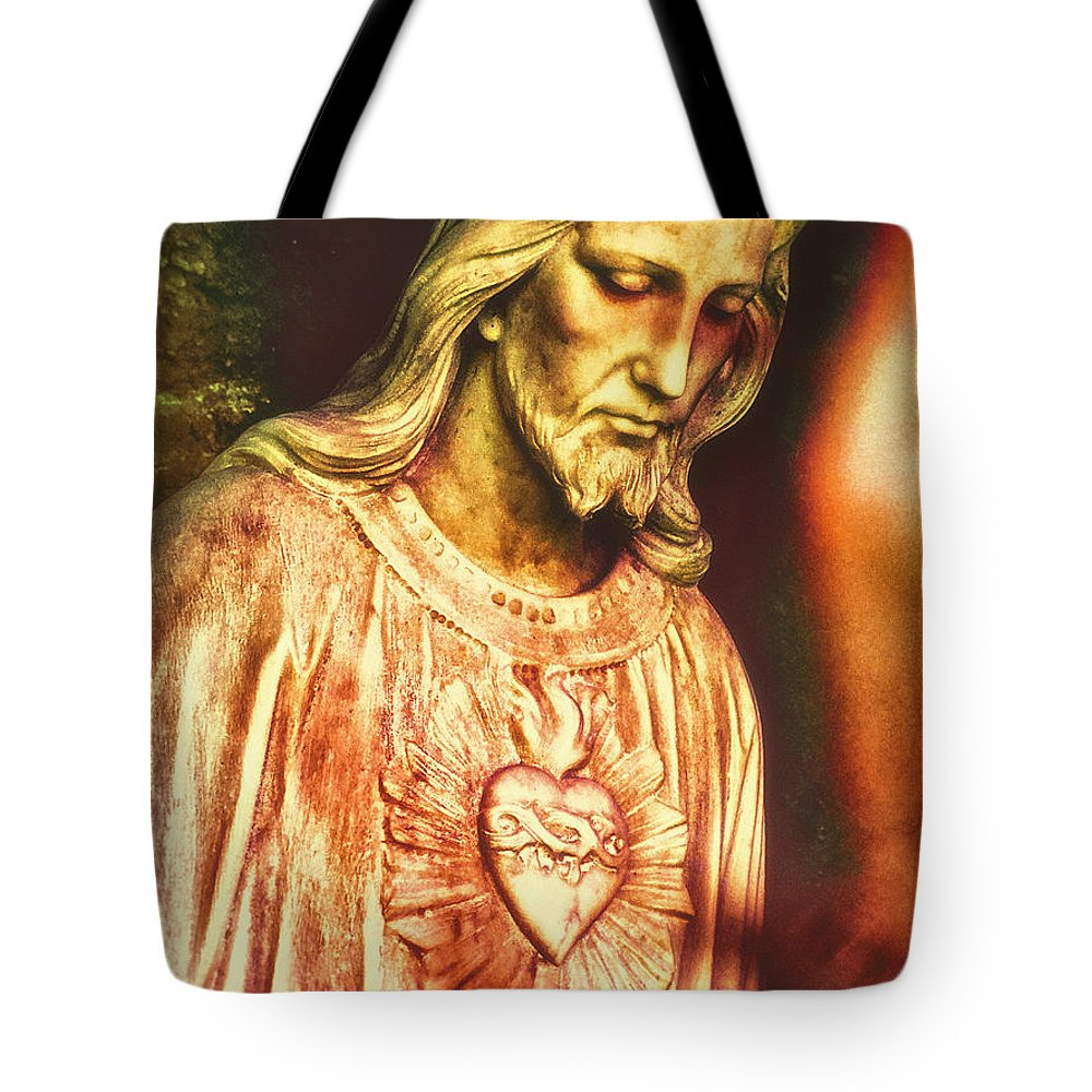 Sacred Heart Tote Bag featuring the photograph Heart Of The Savior by Davy Cheng