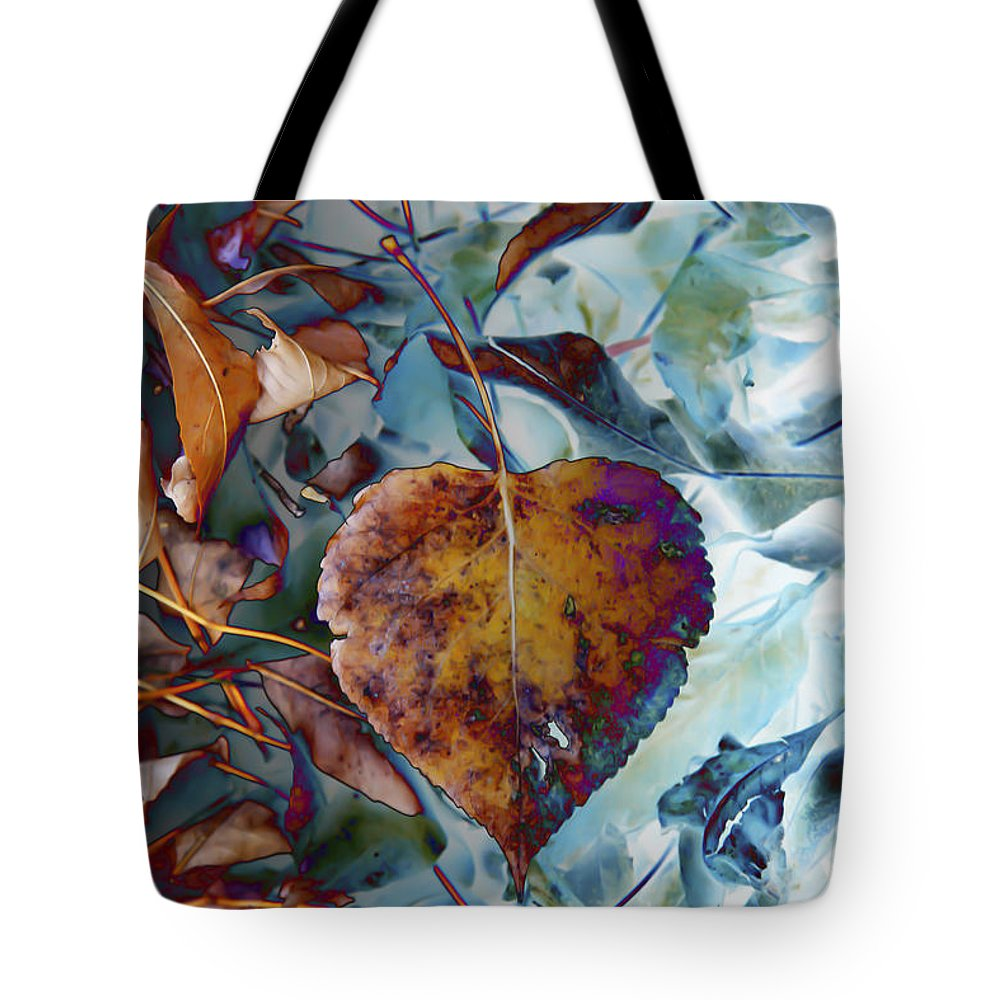 Leaves Tote Bag featuring the digital art Heart On My Leaves by Lori Frostad