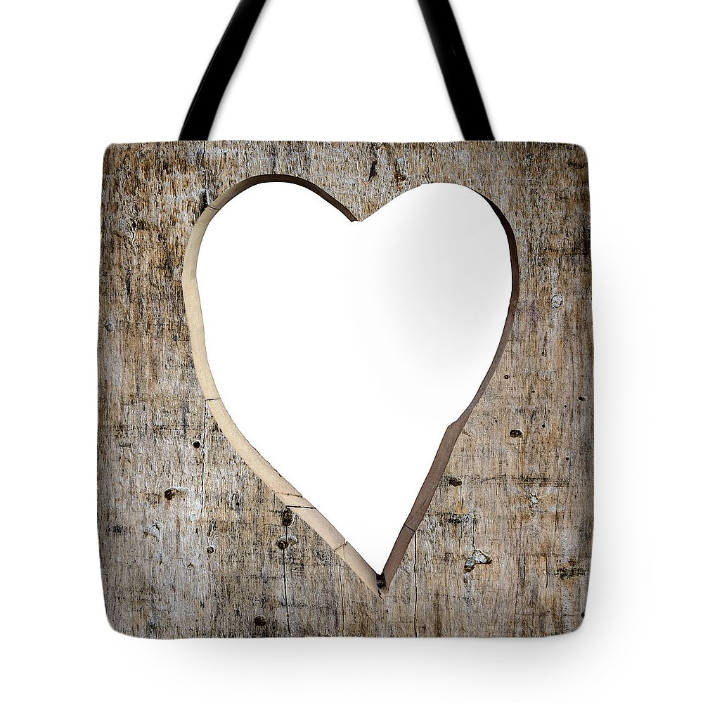 Love Tote Bag featuring the photograph Heart Shape Carved Into A Plank by Dutourdumonde Photography