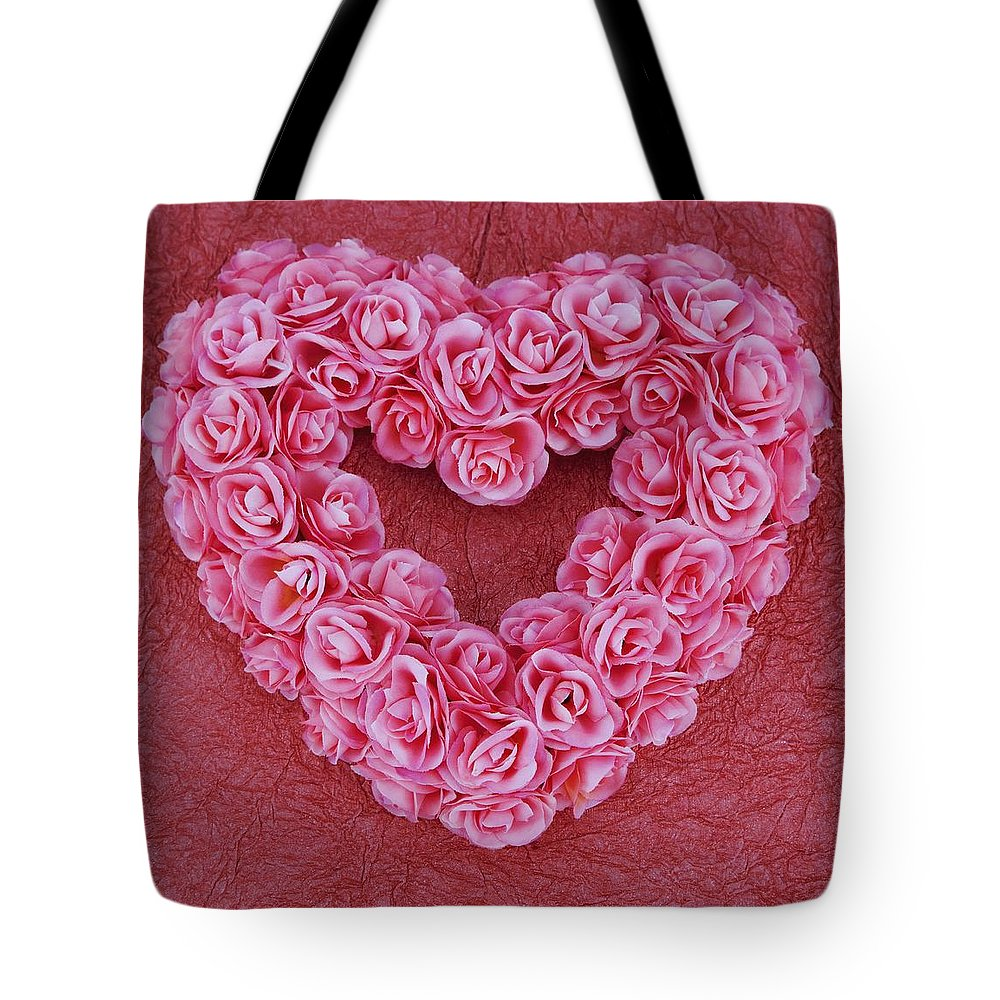 Floral Arrangement Tote Bag featuring the photograph Heart-shaped Floral Arrangement by Darren Greenwood