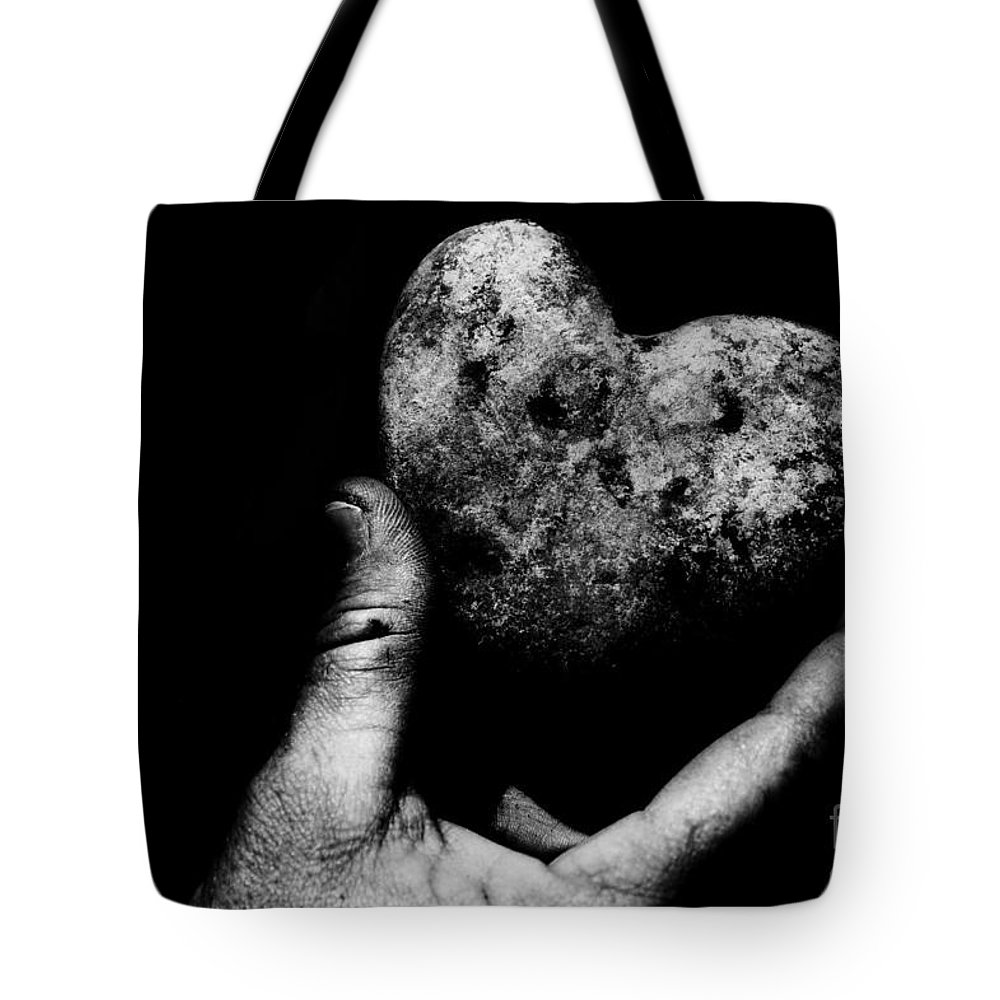 Black Tote Bag featuring the photograph Heart Shaped Rock by Jessica Shelton