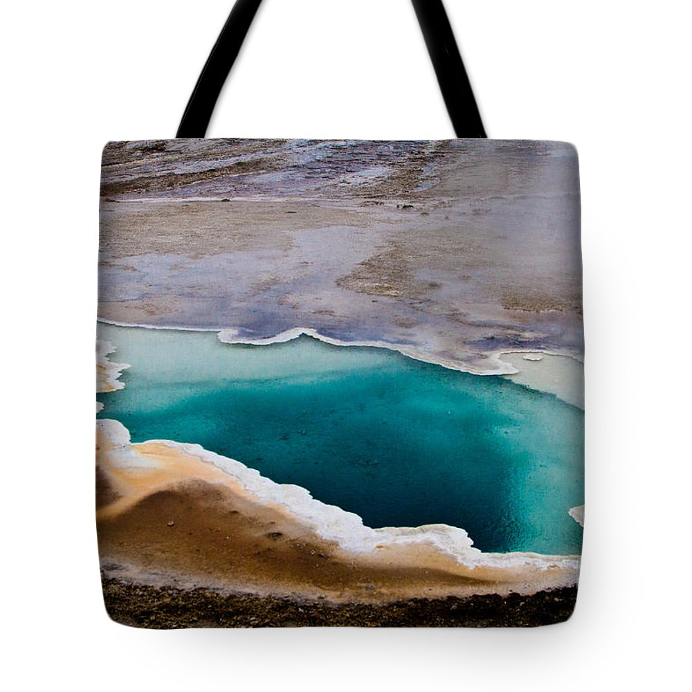Geyser Hill Loop Tote Bag featuring the photograph Heart Spring Yellowstone National Park by Dan Hartford
