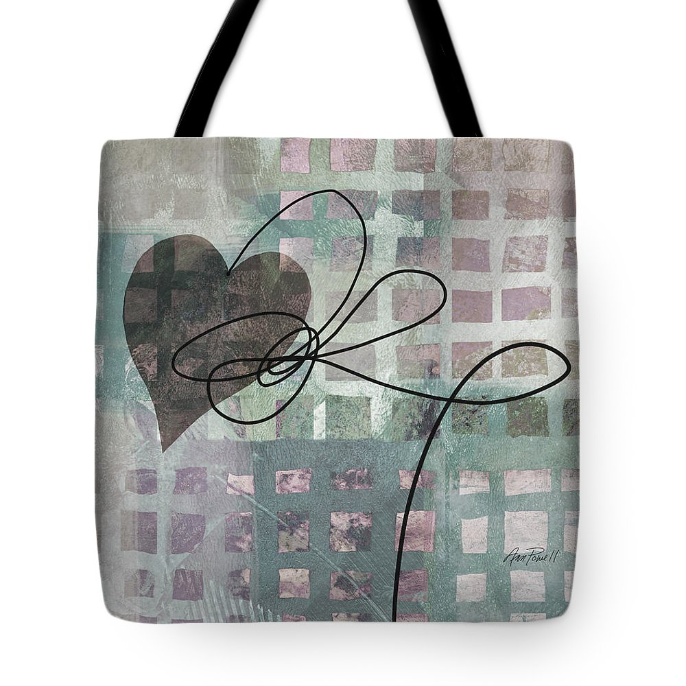 Heart Tote Bag featuring the painting Heart String Abstract- Art by Ann Powell