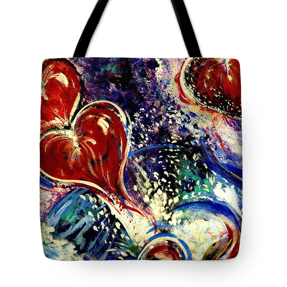 Hearts Tote Bag featuring the painting Hearts Adrift by Doug LaRue