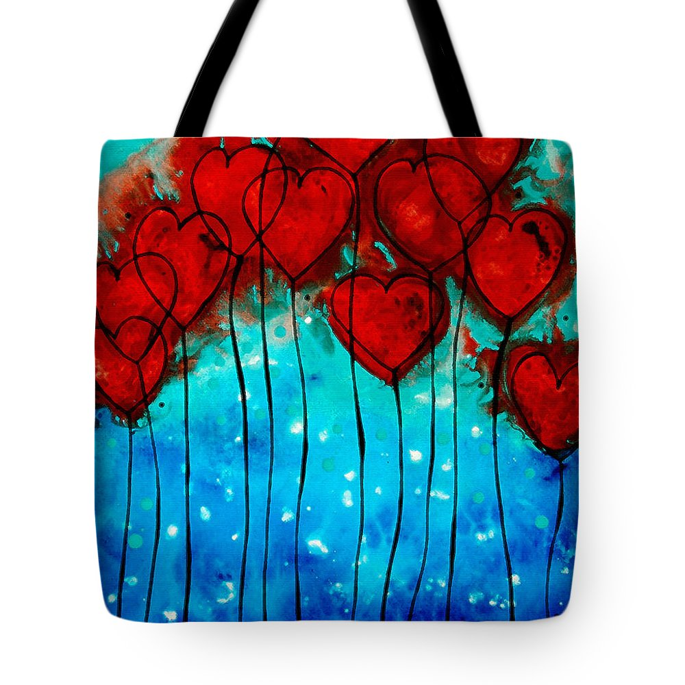 Red Tote Bag featuring the painting Hearts On Fire - Romantic Art By Sharon Cummings by Sharon Cummings