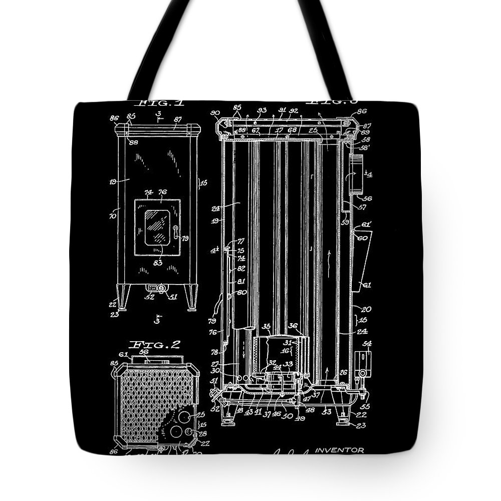 Vintage Heater Patent Tote Bag featuring the mixed media Heater by Dan Sproul