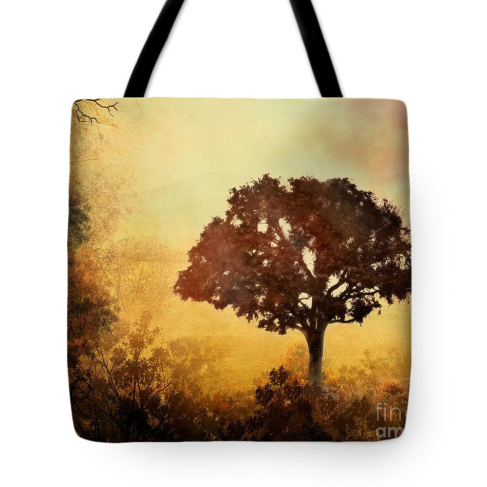 Dawn Tote Bag featuring the digital art Heavenly Dawn by Peter Awax
