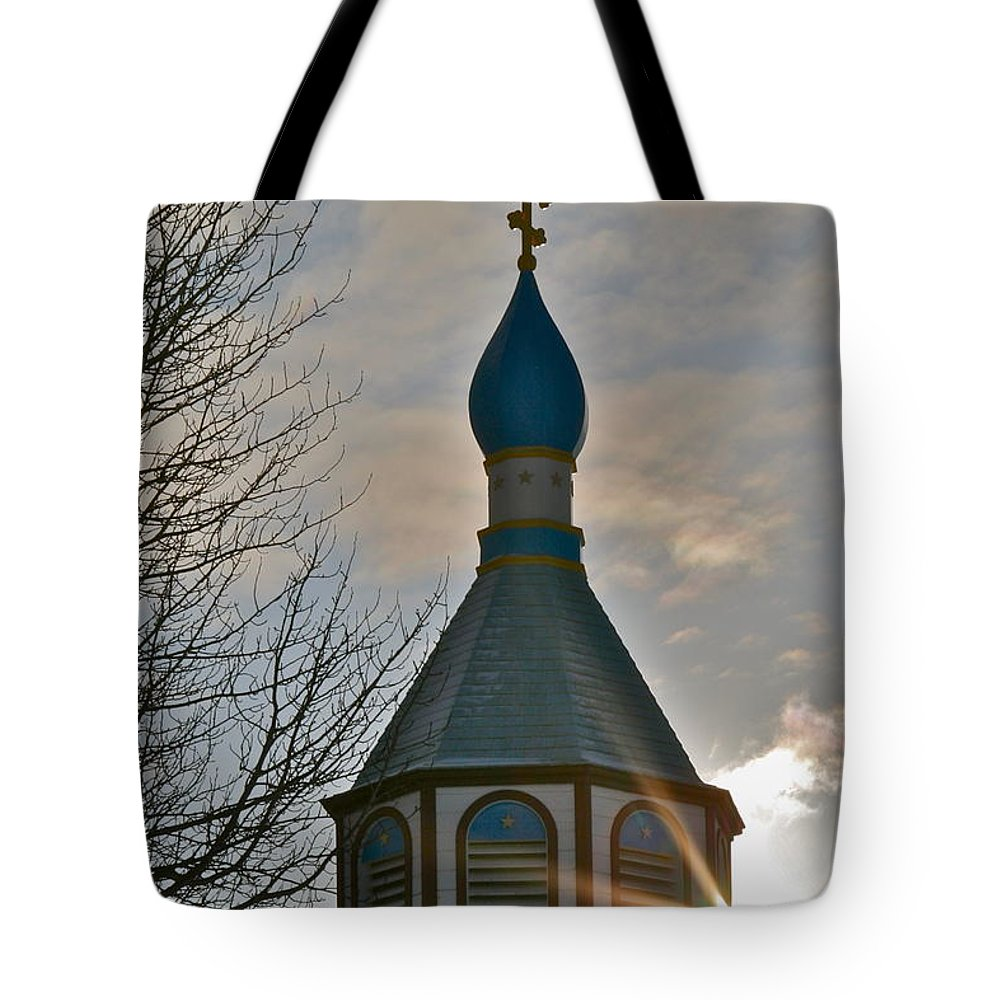 Church Tote Bag featuring the photograph Heavenly Light by Rick Monyahan