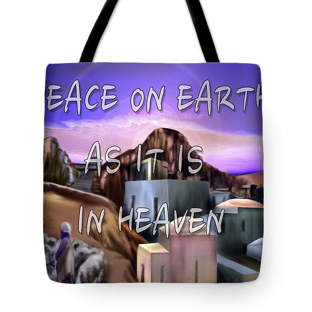 Landscape Tote Bag featuring the painting Heavenly Peace On Earth by Reggie Duffie