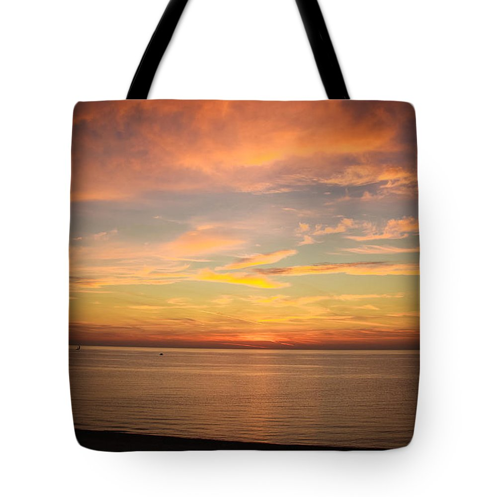 Sunset Tote Bag featuring the photograph Heavenly View by Becky Bunting