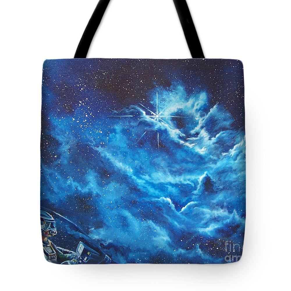 Astro Tote Bag featuring the painting Heavens Gate by Murphy Elliott
