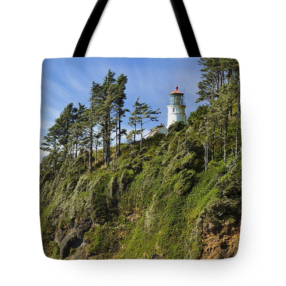 Heceta Tote Bag featuring the photograph Heceta Head Lighthouse 1 A by John Brueske