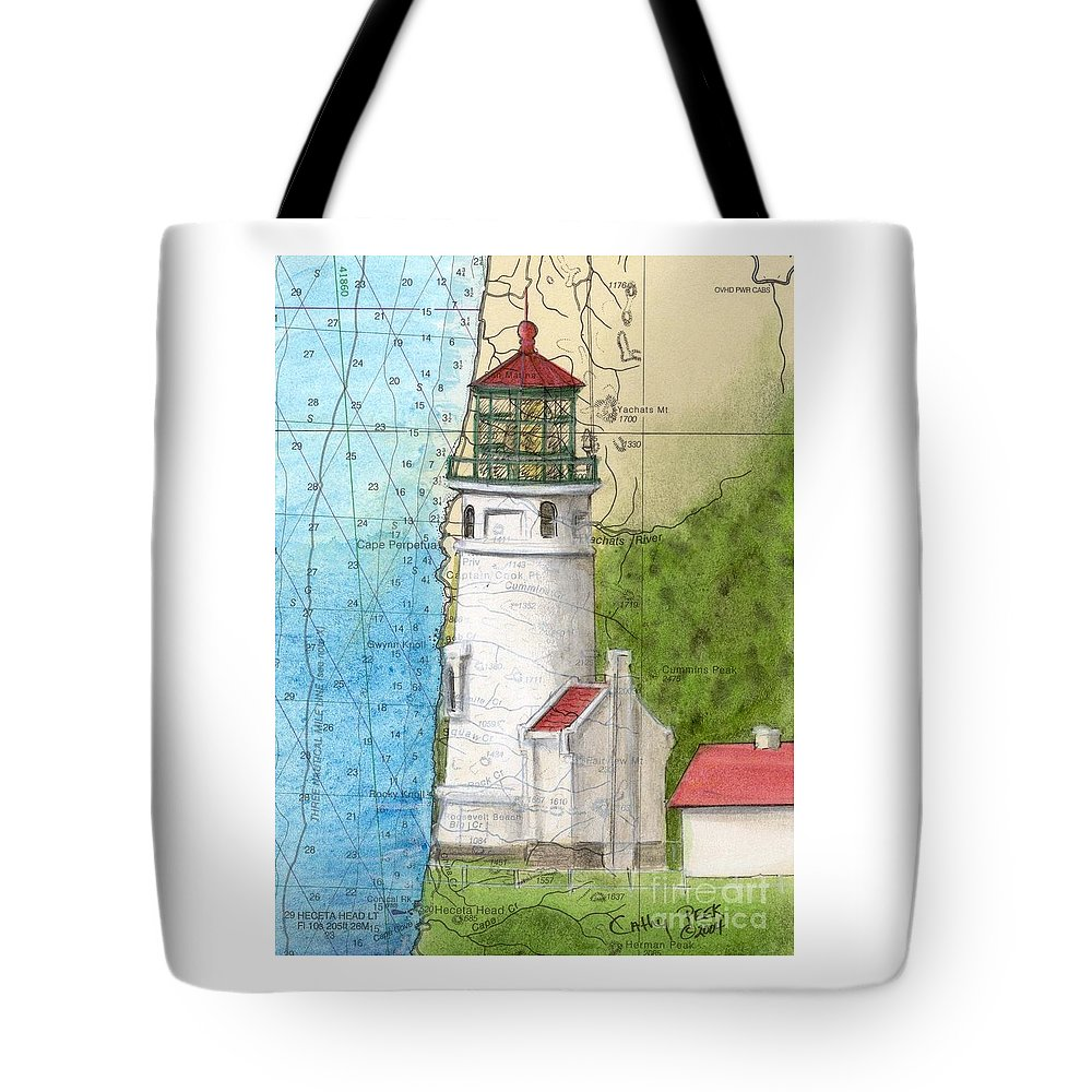 Heceta Tote Bag featuring the painting Heceta Head Lighthouse Or Nautical Chart Map Art Cathy Peek by Cathy Peek