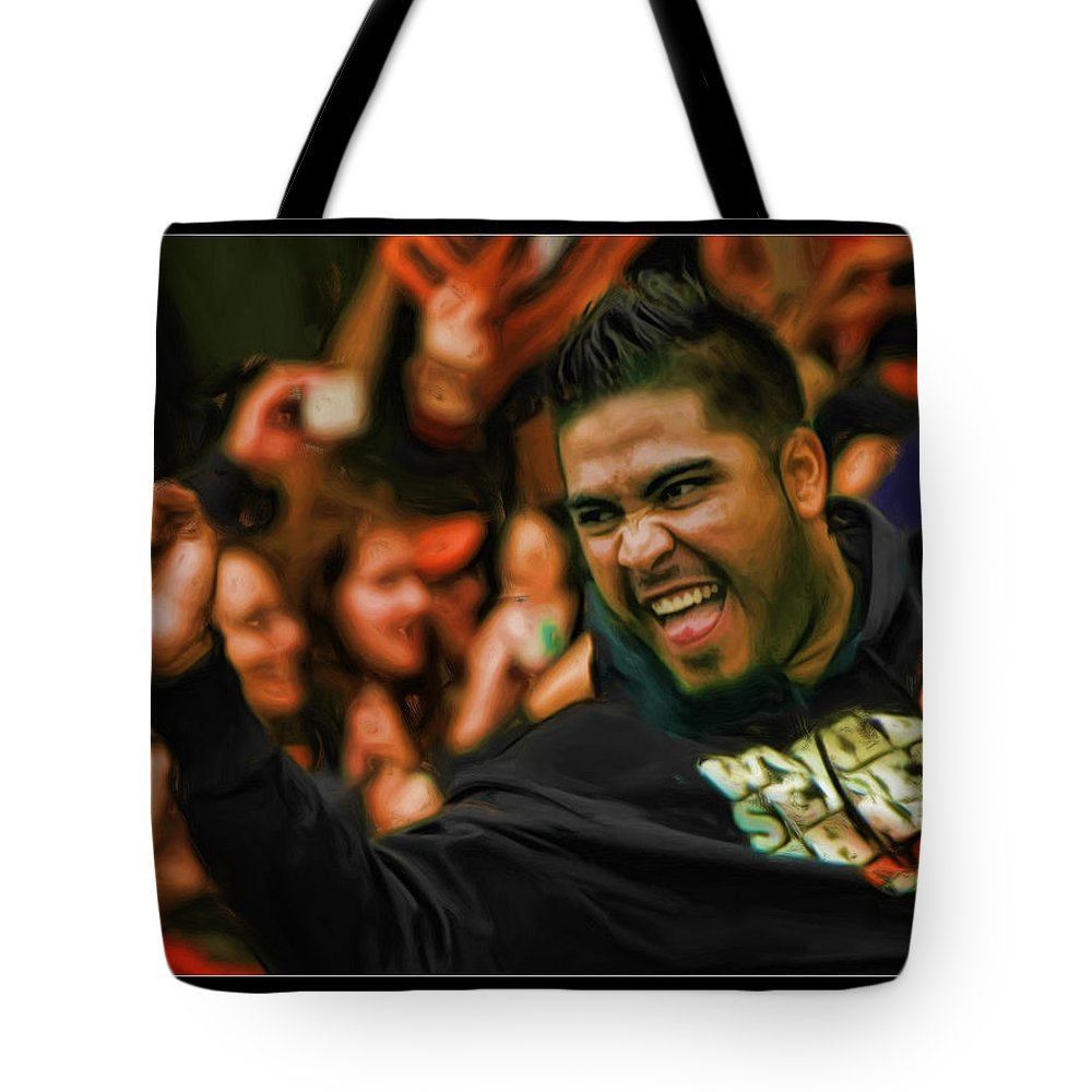 Hector Sanchez Tote Bag featuring the photograph Hector Sanchez World Series 2012 by Blake Richards