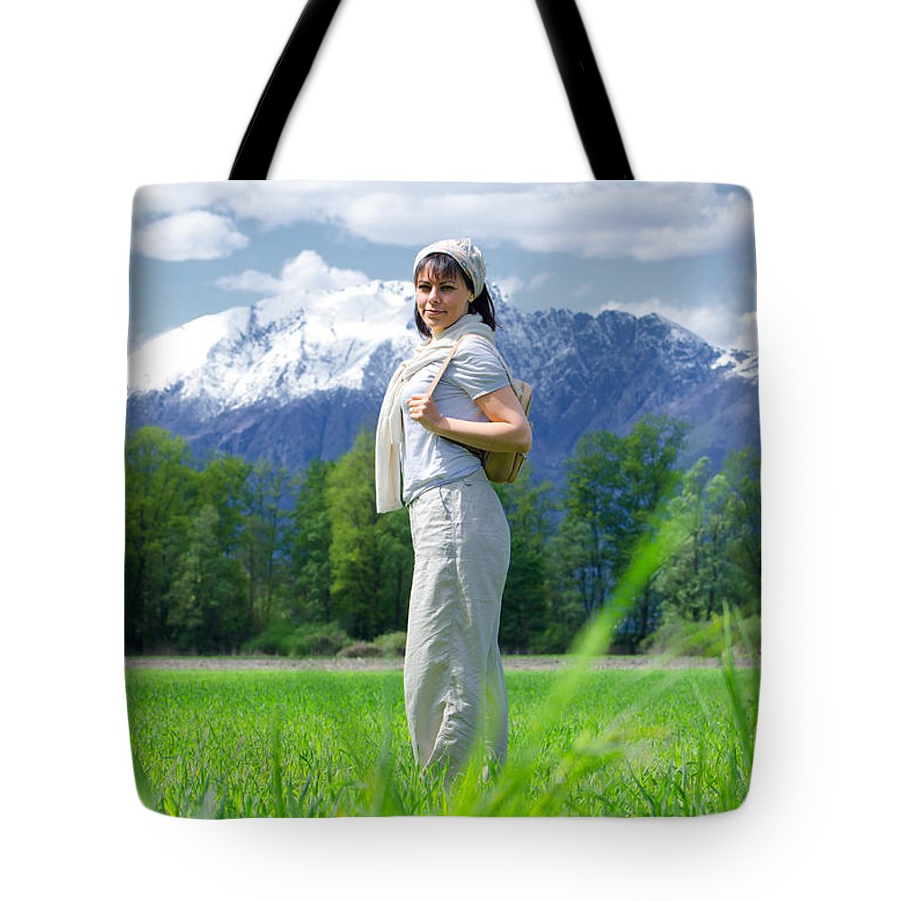 Woman Tote Bag featuring the photograph Heidi by Mats Silvan