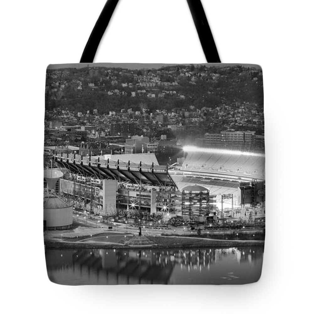 Heinz Field Black And White Tote Bag featuring the photograph Heinz Field Evening Black And White Panorama by Adam Jewell
