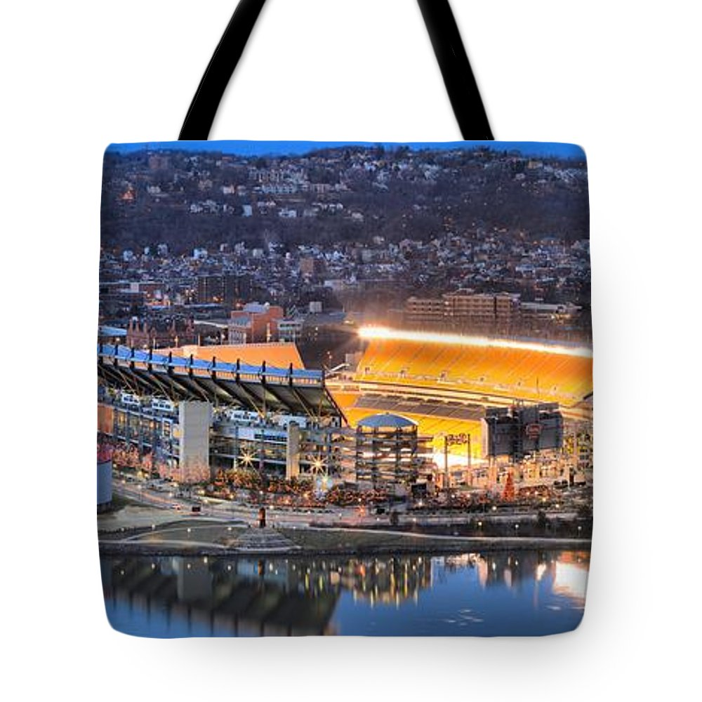 Heinz Field Tote Bag featuring the photograph Heinz Field Evening Reflections by Adam Jewell