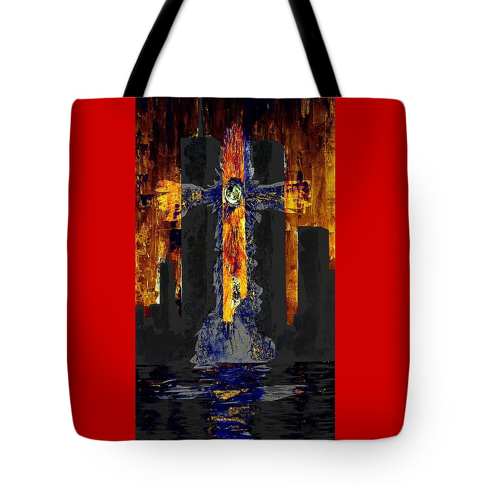 World Trade Center Tote Bag featuring the painting Held Before 9-11 Fire Sky by Renee Nolan-Riley