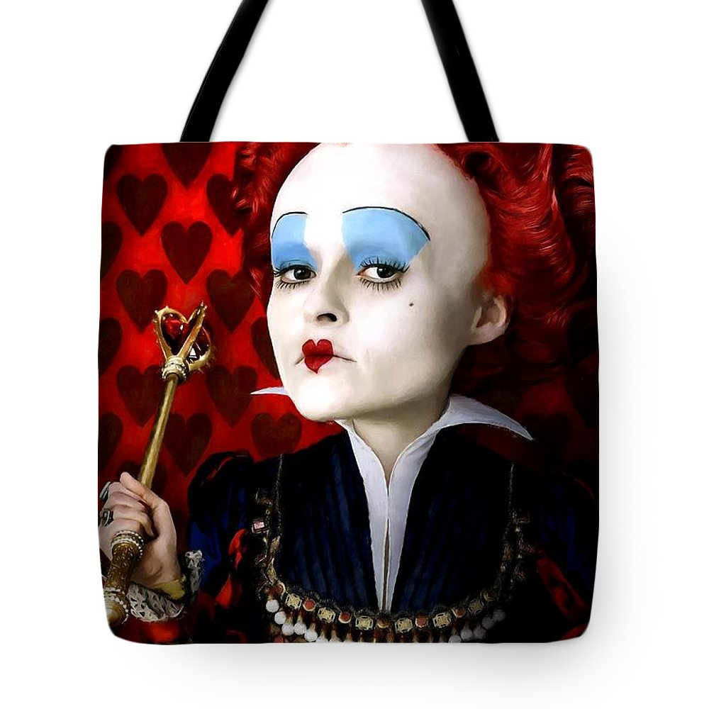Alice In Wonderland Tote Bag featuring the digital art Helena Bonham Carter as The Red Queen in the film Alice In Wonderland by Gabriel T Toro