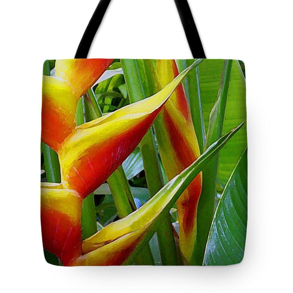 Heliconia Bihai Tote Bags