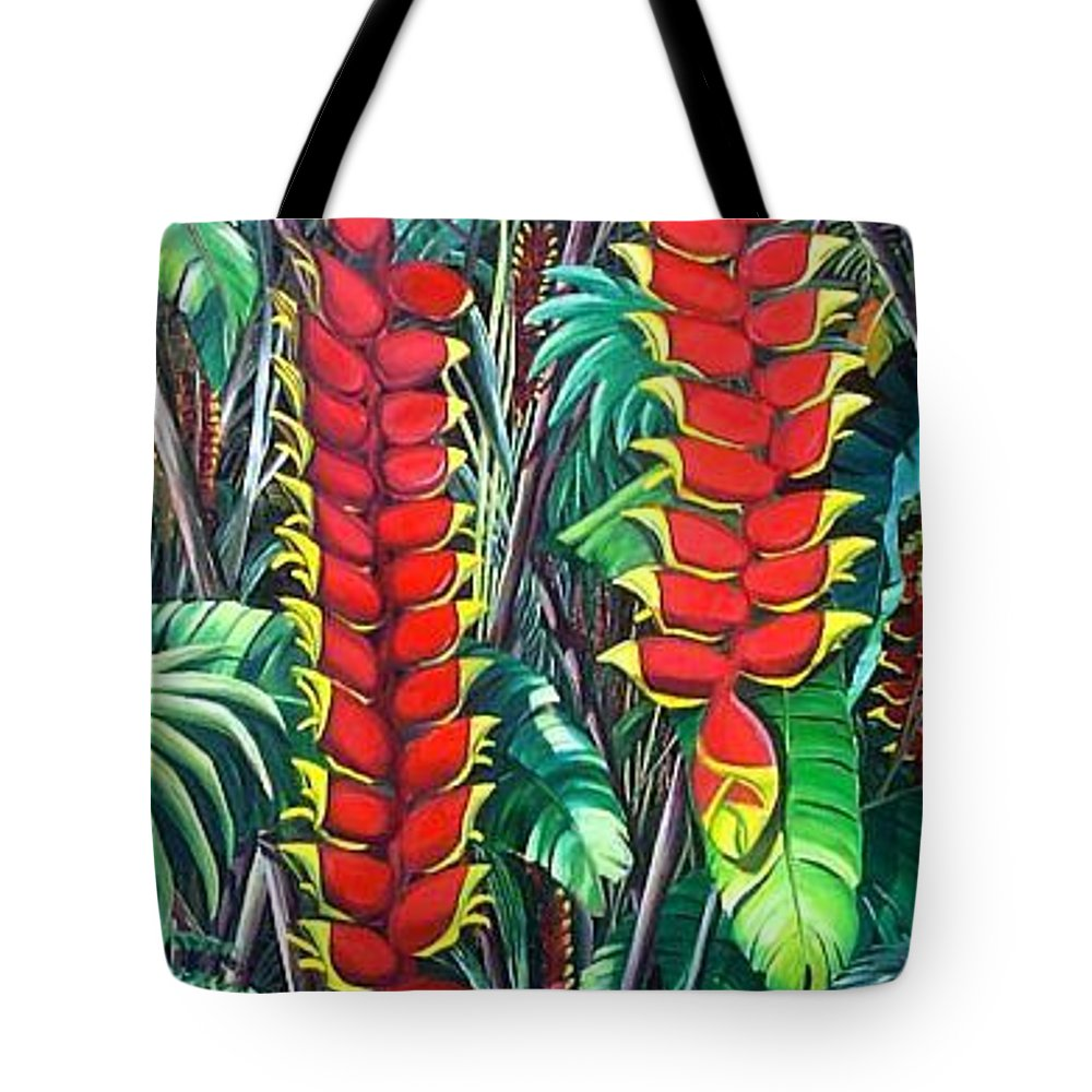Heliconia Painting Hanging Red Heliconia Tropical Painting Tote Bag featuring the painting Heliconia Rostrata by Karin Dawn Kelshall- Best