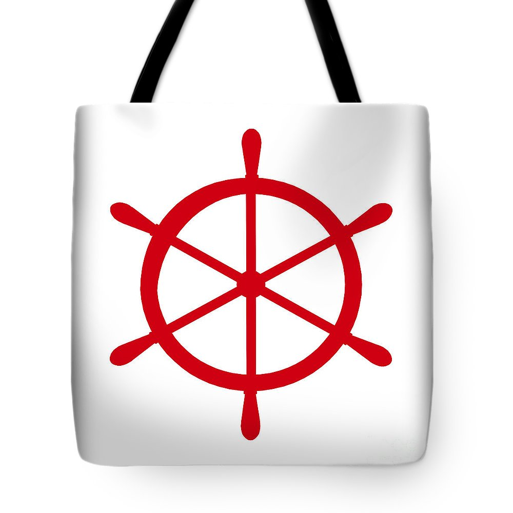 Graphic Art Tote Bag featuring the digital art Helm In Red And White by Jackie Farnsworth