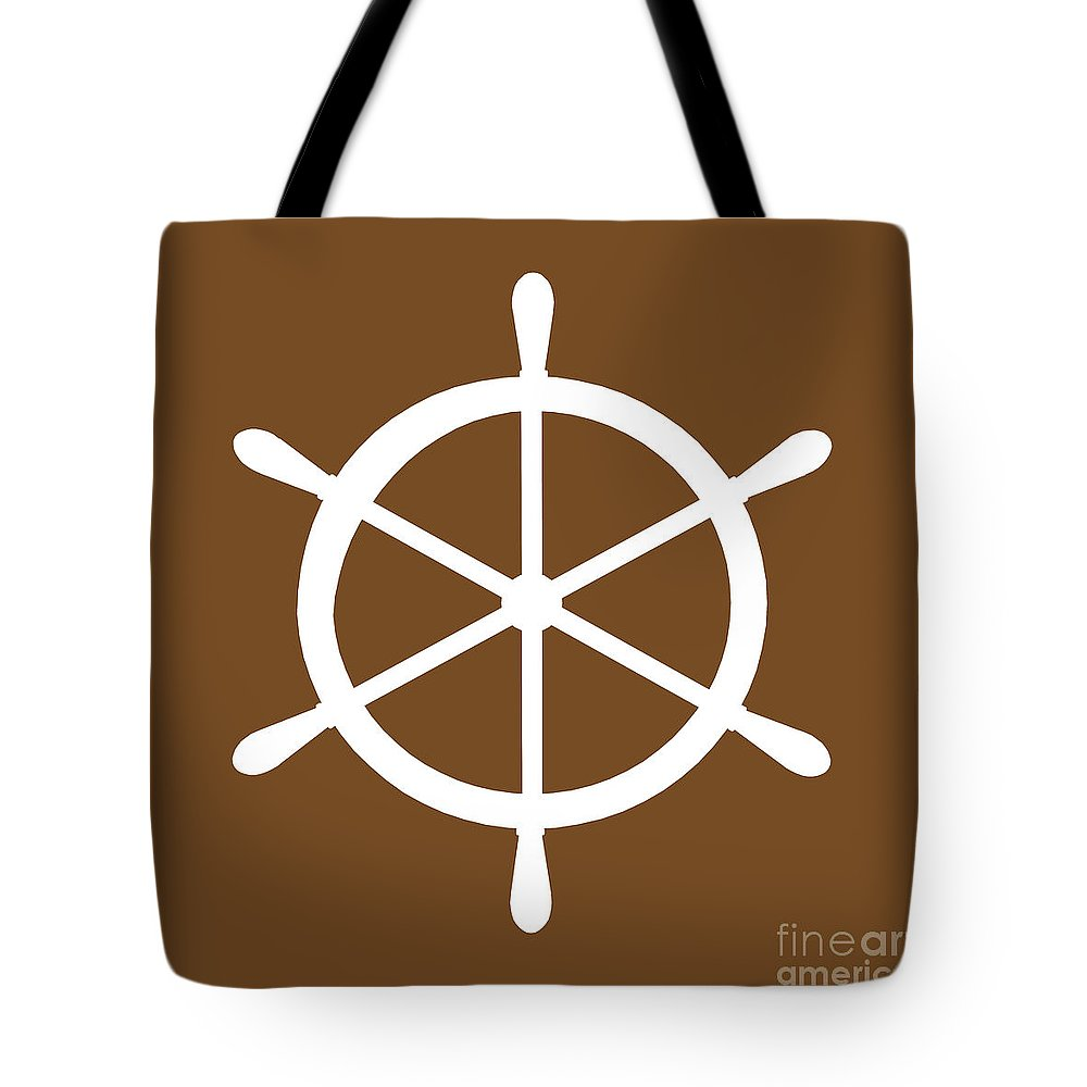 Graphic Art Tote Bag featuring the digital art Helm In White And Brown by Jackie Farnsworth