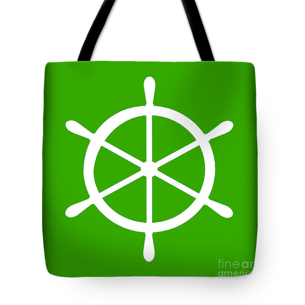 Graphic Art Tote Bag featuring the digital art Helm In White And Green by Jackie Farnsworth