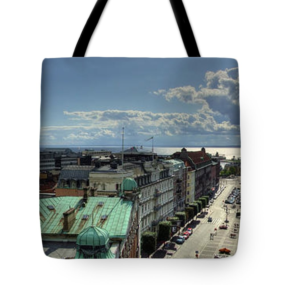 Panorama Tote Bag featuring the photograph Helsingborg Hdr Pano by Antony McAulay