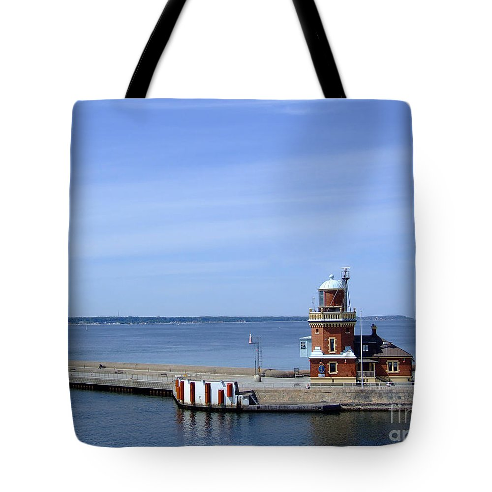 Lighthouse Tote Bag featuring the photograph Helsingborg Lighthouse 02 by Antony McAulay