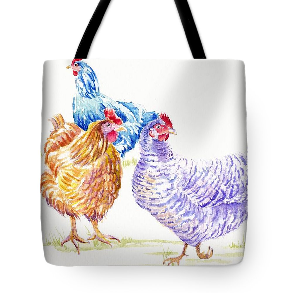 Chickens Tote Bag featuring the painting Hen Party by Debra Hall