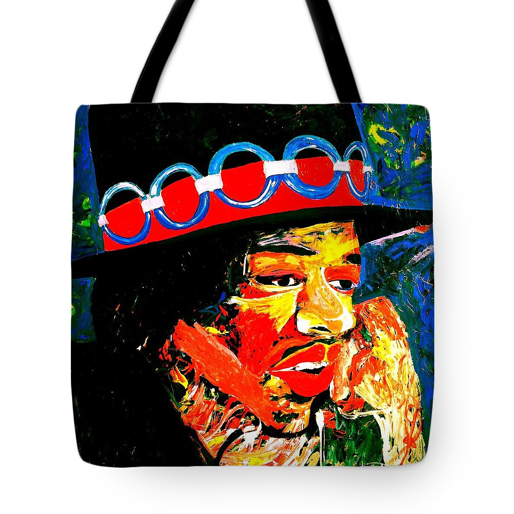 Jimmy Hendrix Tote Bag featuring the painting Hendrix Rocks by Neal Barbosa