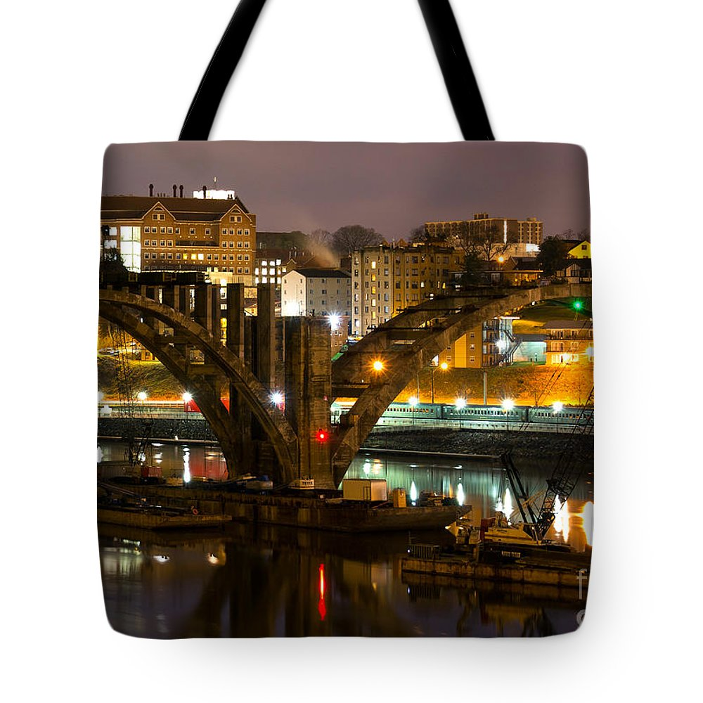 Henley Tote Bag featuring the photograph Henley Street Bridge Renovation II by Douglas Stucky