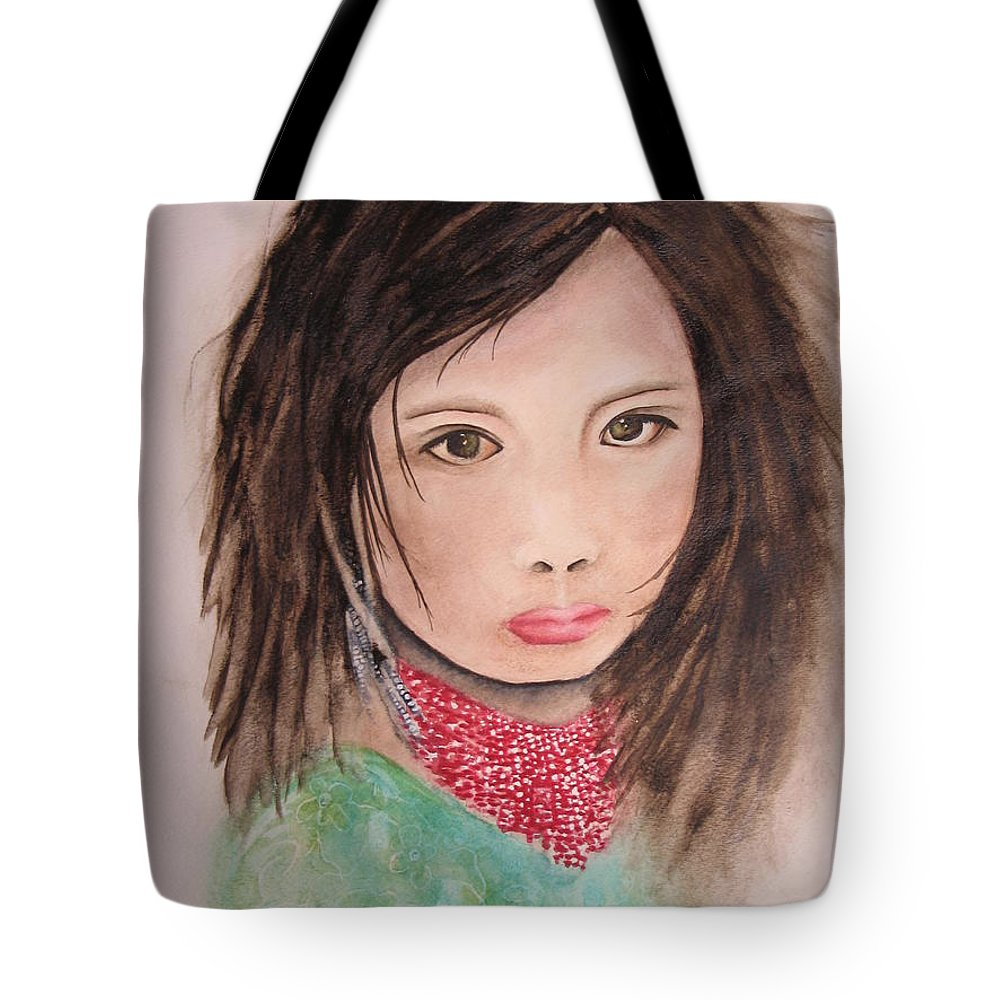 Fine Art Painting Tote Bag featuring the painting Her Expression Says It All by Chrisann Ellis