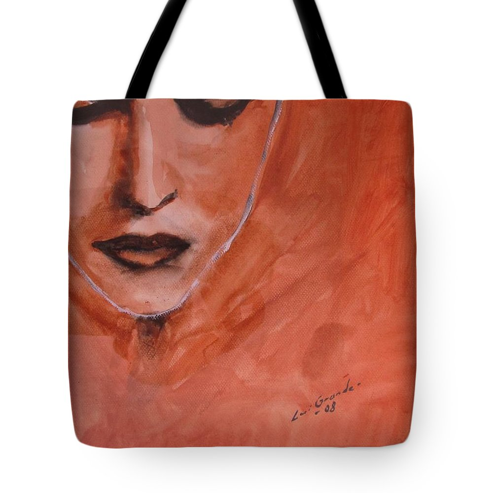 Portrait Tote Bag featuring the painting Looking To Her Soul by Jarmo Korhonen aka Jarko
