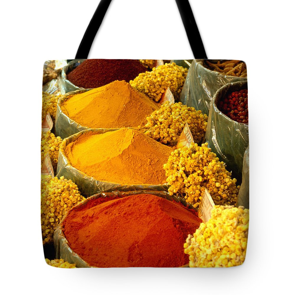 Turkish Tote Bag featuring the photograph Herbs And Spices by Francesca Yorke