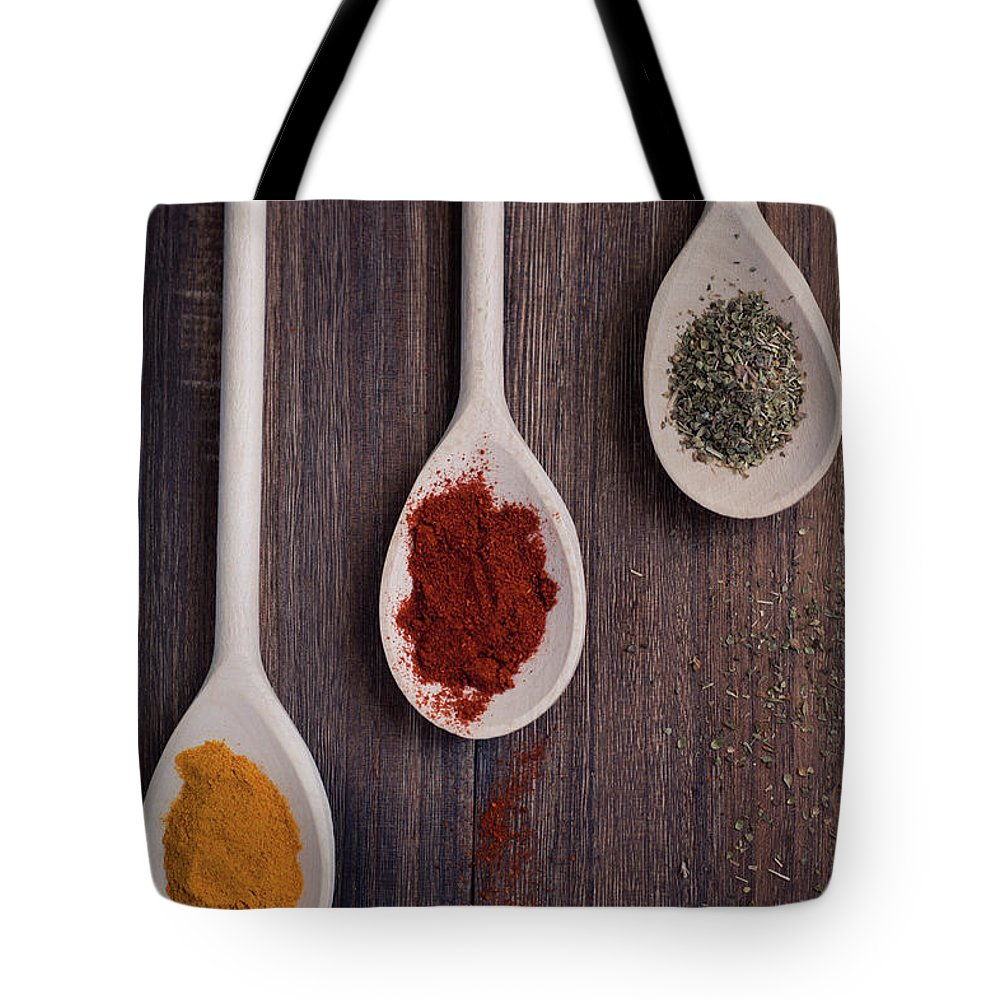 In A Row Tote Bag featuring the photograph Herbs And Spices by Photo By Asri' Rie