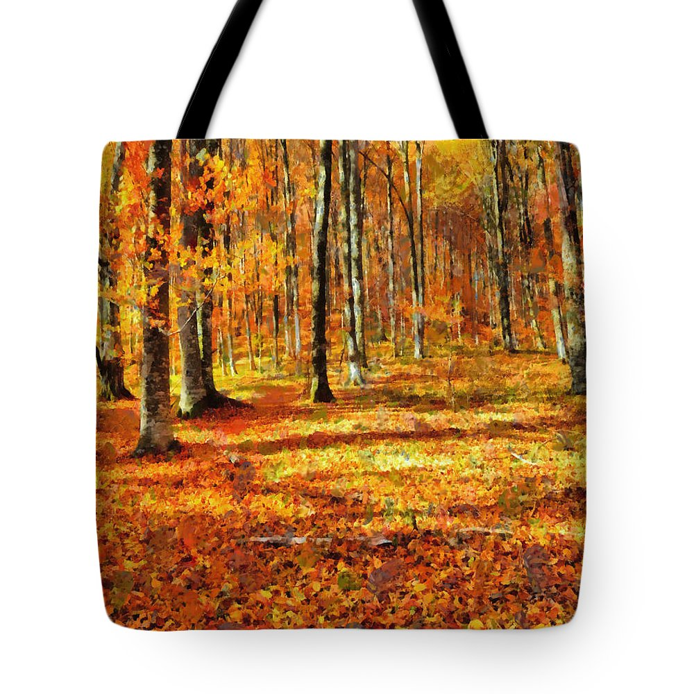 Tree Tote Bag featuring the painting Here Comes Fall by Joe Misrasi