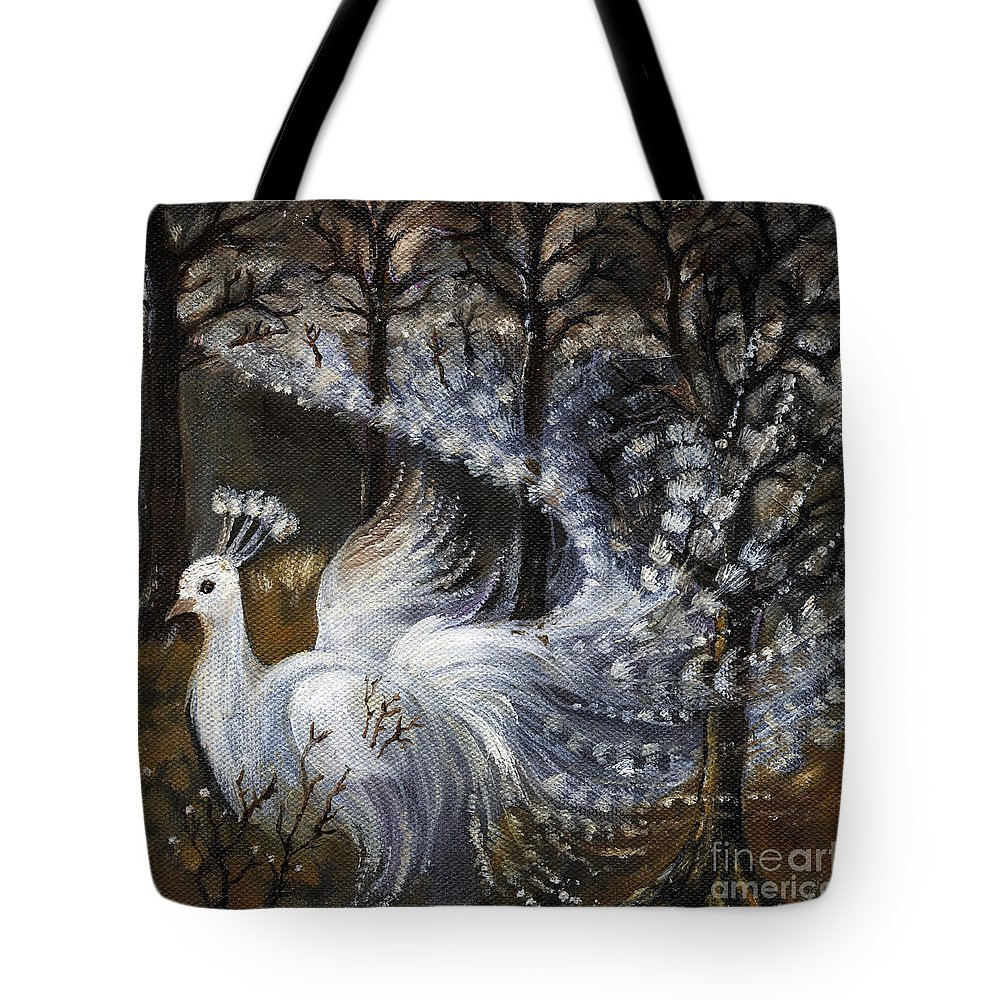 Peacock Tote Bag featuring the painting Here Comes The Mist by Angel Ciesniarska