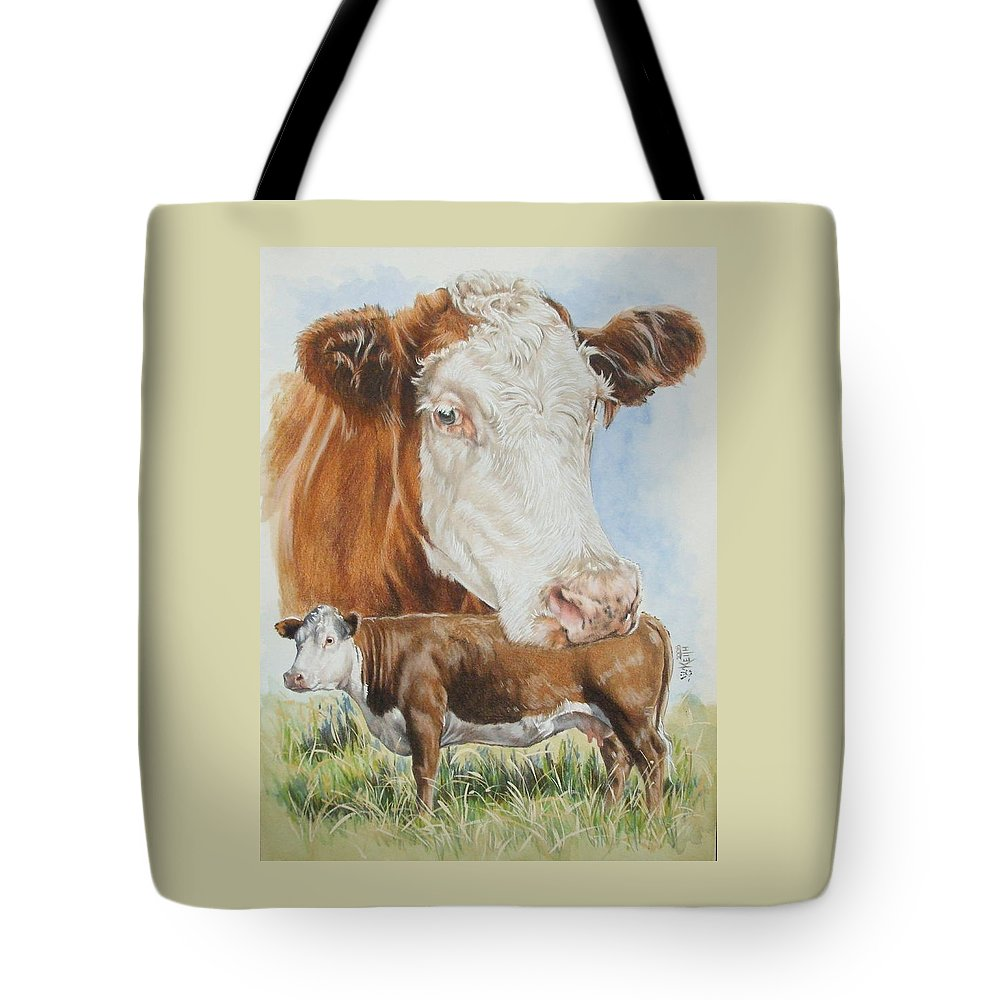 Cattle Tote Bag featuring the mixed media Hereford Cattle by Barbara Keith