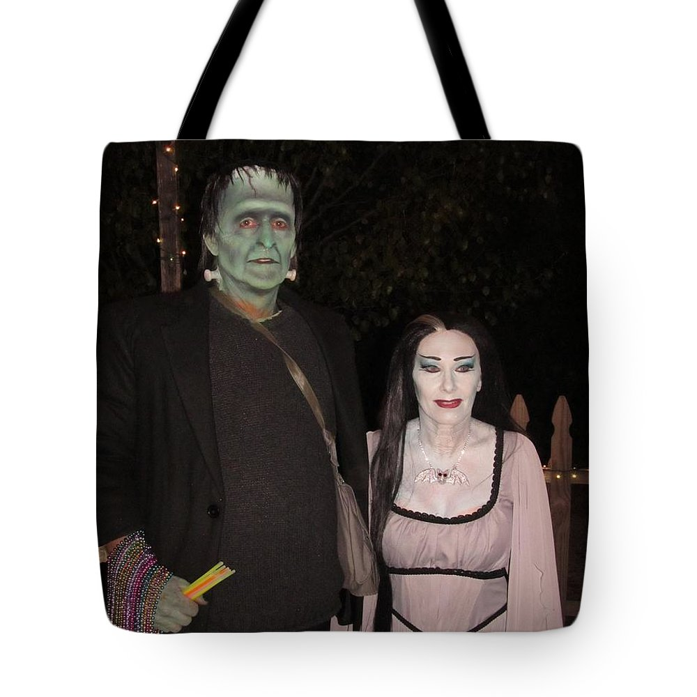 The Munsters Tote Bag featuring the photograph Herman And Lilly Munster by Donna Wilson